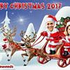 Santa sleigh funny family Xmas caricature