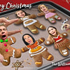 Scared Gingerbread cookies Christmas Card
