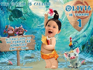 Moana Birthday Invitation