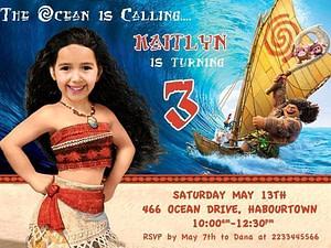 Moana Child Photo Invitation
