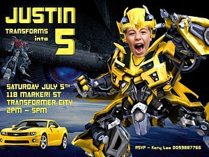 Transformers caricature photo invitation
