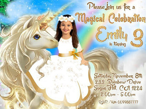 Rainbow Unicorn Gold Invitation