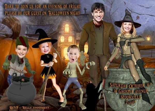 Family Photo Halloween Invitation