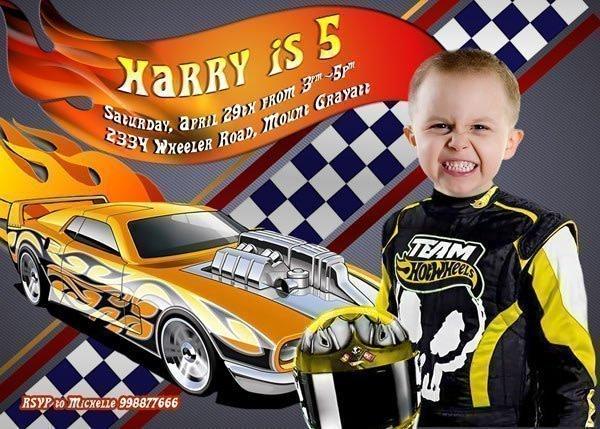 Hot Wheels Boys Birthday Invitation