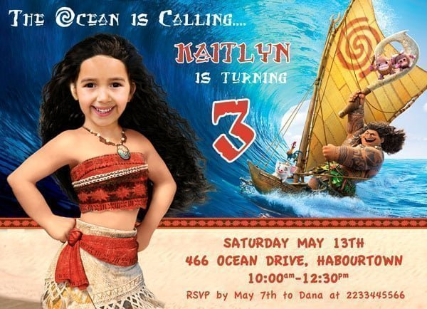 Moana Child Photo Invitation