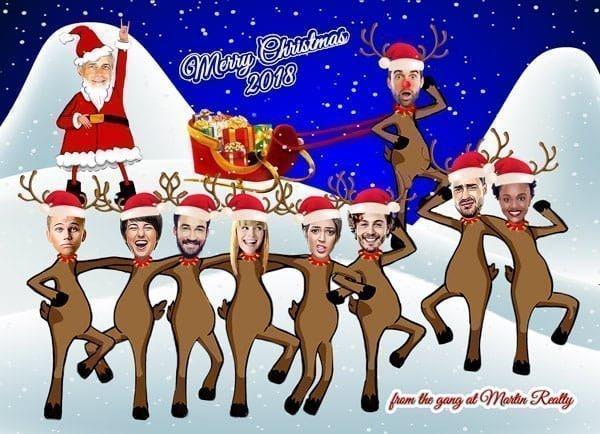 Dancing Reindeer Christmas card
