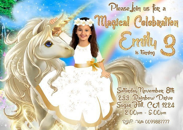 Rainbow Unicorn Gold Invitation