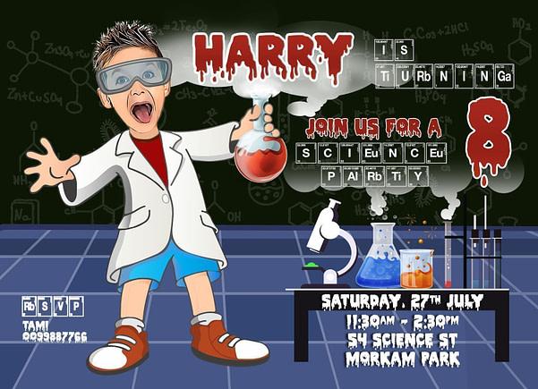 Mad Scientist Boys invitation