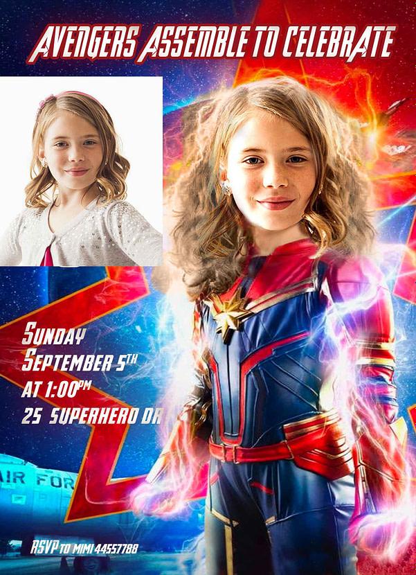 Captain Marvel Birthday Invitation