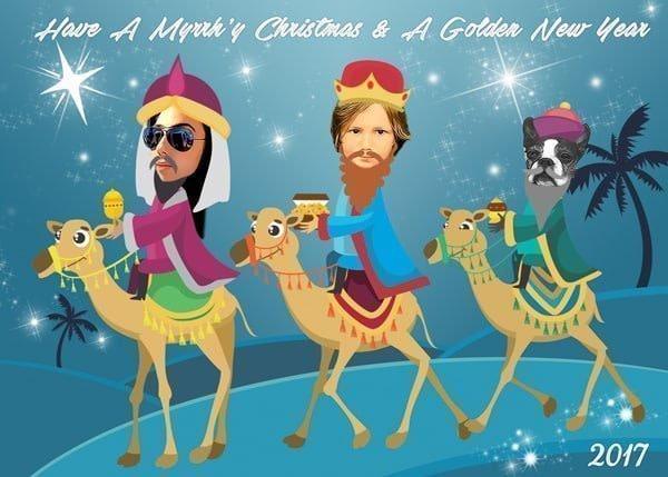 Three Wisemen Christmas Card Caricature